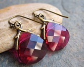 Bright Fuschia Faceted Swarovski Briolettes and Antique Brass Handmade Earrings, Magenta Pink Crystal Earrings