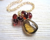 Quartz and Garnet Gemstone Necklace, 14K Gold Filled Wire Wrapped Gemstone Necklace