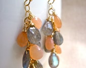 Labradorite and Peach Moonstone Earrings, Gemstone Cluster Earrings in 14K Gold Fill, Labradorite Moonstone Gemstone Jewelry