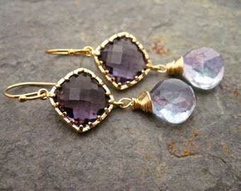 Blue Gemstone and Purple Glass Earrings, 14K Gold Filled Dangle Earrings, Purple Blue Peacock Earrings