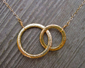 Eternity Necklace in Gold Vermeil, Brushed Two Ring Eternity Necklace, Two Sisters, Best Friends, Mother Daughter