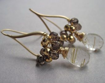 Drop Earrings with Golden Rutilated Quartz, Smoky Quartz and Pyrite, Handmade Wire Wrapped Earrings