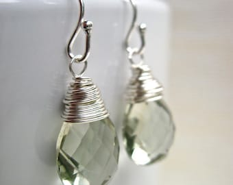 Green Amethyst Earrings in Sterling Silver, February Birthstone Earrings, Mint Green Gemstone Earrings