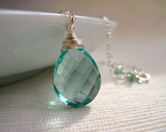 Teal Quartz Necklace in Sterling Silver, Sea Green Gemstone Necklace, Wire Wrapped Gemstone Jewelry
