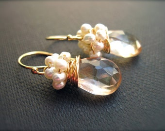 Freshwater Pearl Wire Wrapped Champagne Quartz Gemstone Earrings, Gold Gemstone Earrings, Pearl Bridal Earrings