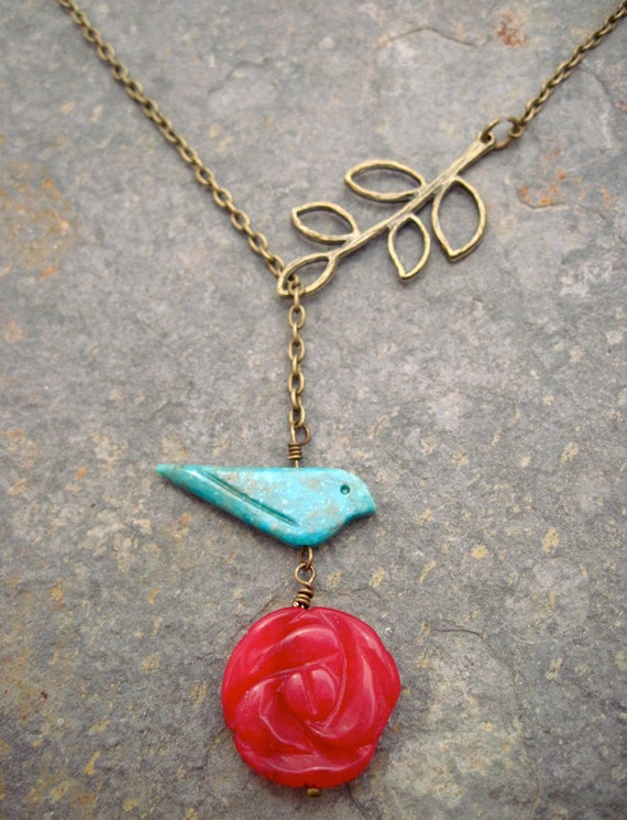 Turquoise Bird and Red Jade Flower with Bronze Branch Lariat Necklace in Antique Brass
