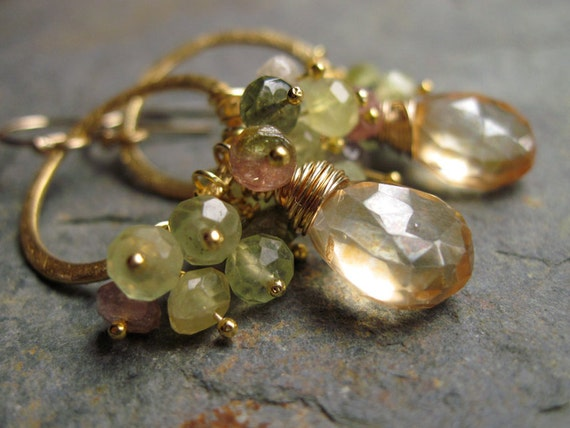 Gemstone Dangle Earrings with Champagne Quartz, Prehnite, Tourmaline and Brushed Gold Hoops