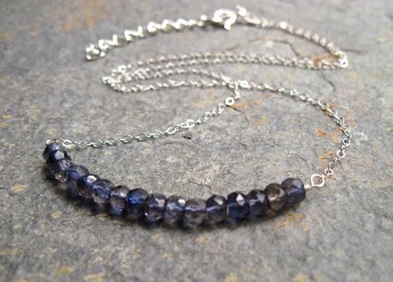 Iolite Gemstone Necklace, Blue Gemstone Necklace, Navy Blue, Sterling Silver Blue Gem Necklace