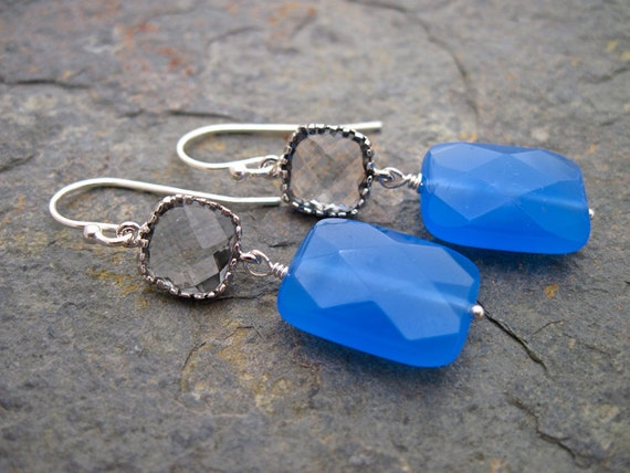Blue Quartz and Bezel Set Gray Glass Sterling Silver Earrings, Handmade Blue Gemstone Earrings