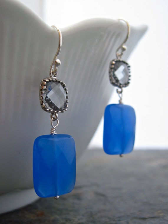 Blue Quartz and Bezel Set Gray Glass Sterling Silver Earrings, Handmade Blue Gemstone Earrings
