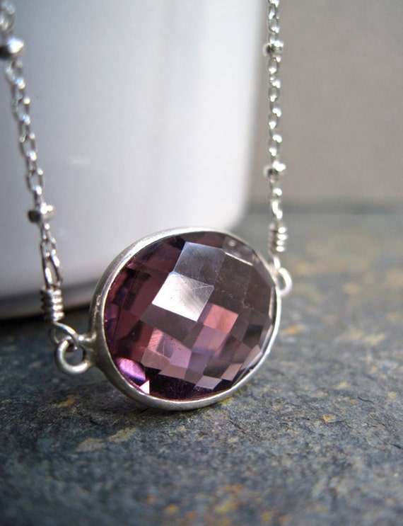 Plum Berry Quartz Bezel Set Necklace with Satellite Chain in Sterling Silver