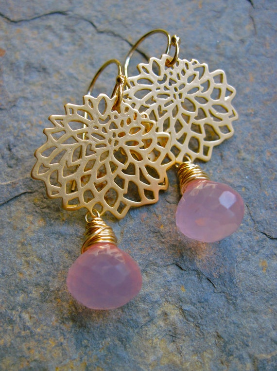 Pink Chalcedony and Gold Flower Earrings, Wire Wrapped Dangle Earrings, Pink Gemstone Earrings