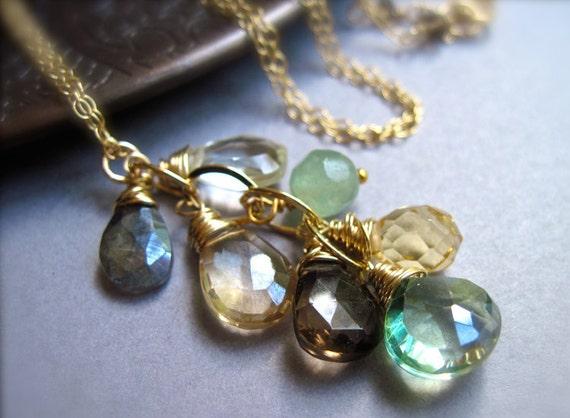 Gemstone Waterfall Necklace, 14K Gold Filled, Green Amethyst, Quartz, Citrine, Smoky Quartz, Labradorite and Aventurine Gemstone Necklace