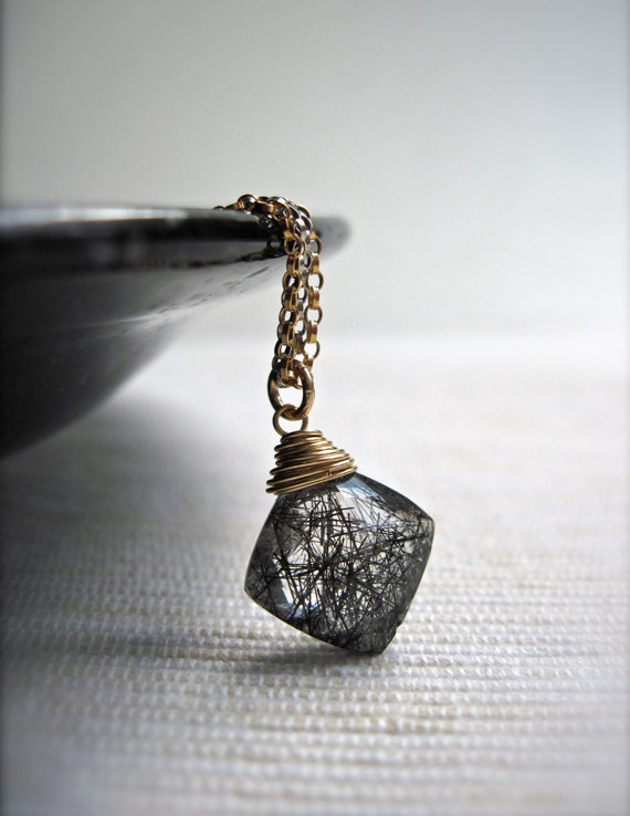 Black Rutilated Quartz Pendant Necklace, Handmade Gemstone Necklace in Sterling Silver and 14K Gold Fill