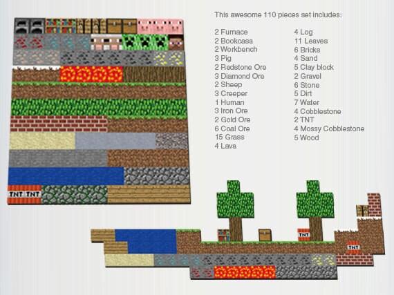 Minecraft magnet (Set 110 pieces 1 inch)