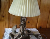 Antique 1960's Nautical Electric Lamp Hand Carved Wood Anchor & Chain