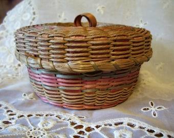 Antique Hand Woven Wicker Basket