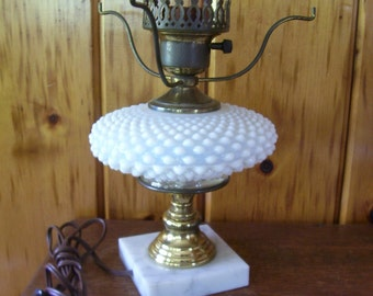Antique Fenton Lamp Electric Light White Opalescent Hobnail Glass Marble Base Rare