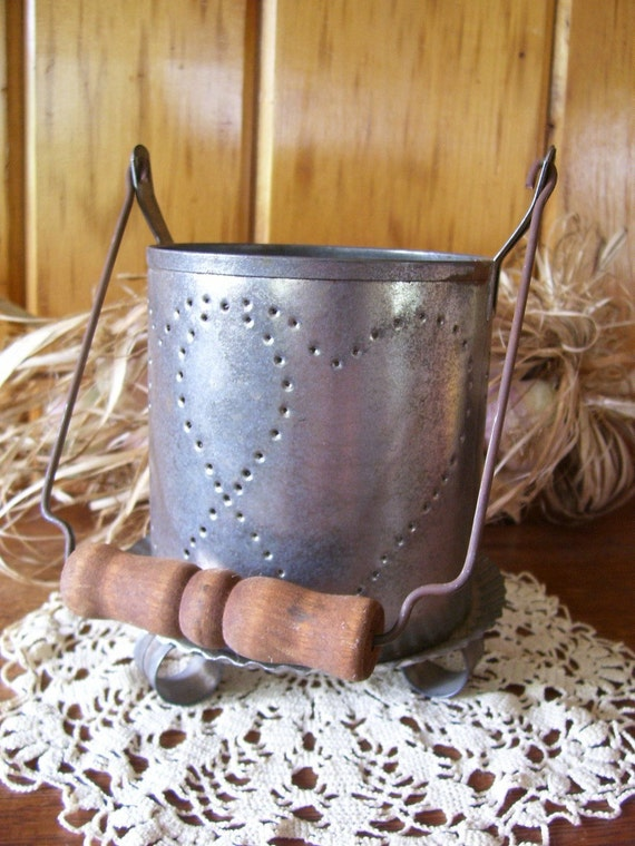 Primitive punched tin candle holder w wooden by - Punched metal candle holder ...