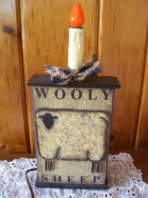 Primitive Country Wooden Wooly Sheep Lamp By