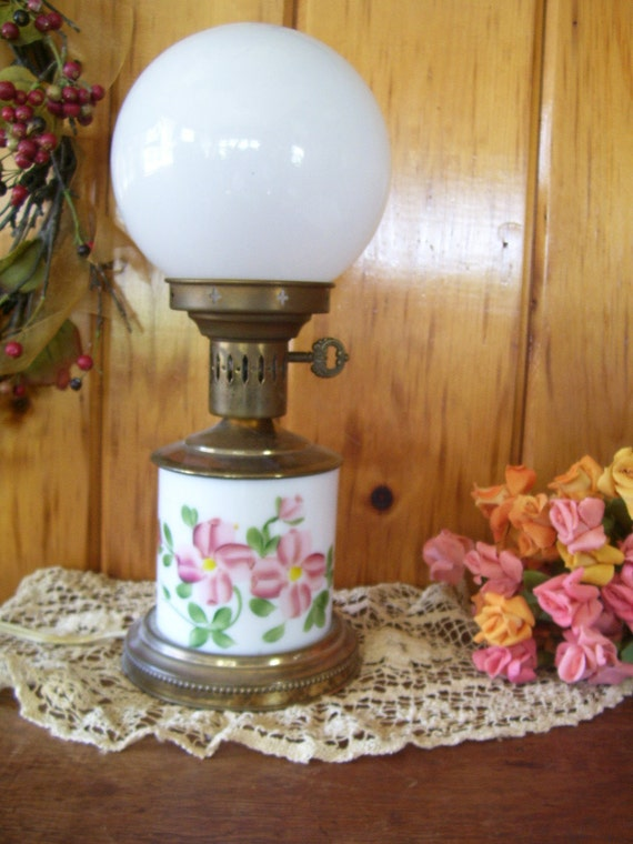 Milk Glass Lamp Antique Electric Lighting w/Hand Painted Pink Flowers Art Deco