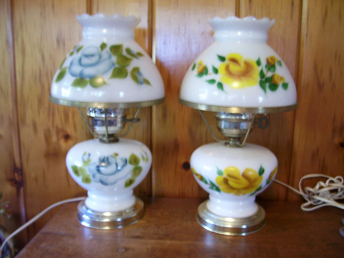 Lovely Antique Electric Table Lamps Milk By Thecountrylampshop