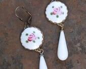 Vintage Guilloche Enamel & Milk Glass Earrings