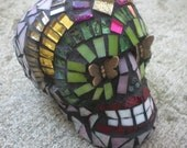 Dia De Los Muertos Mariposa Mosaic Stained Glass Skull - Day of the Dead Skull with Butterfly Eyes