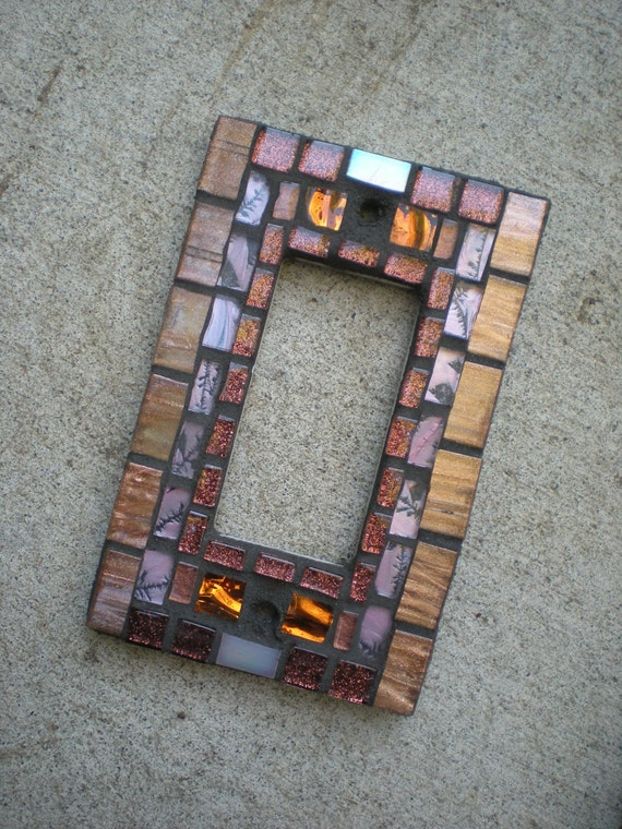 Mosaic Rocker Light Switch Cover - Copper, Bronze, and Pink Decora Switchplate