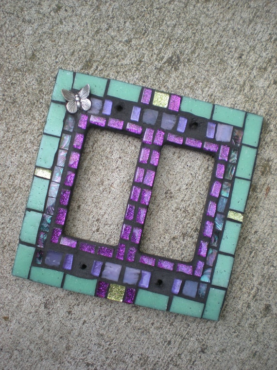 Butterfly Mosaic Rocker Double Light Switch Cover - Aqua, Lime and Purple Stained Glass Decora Switchplate