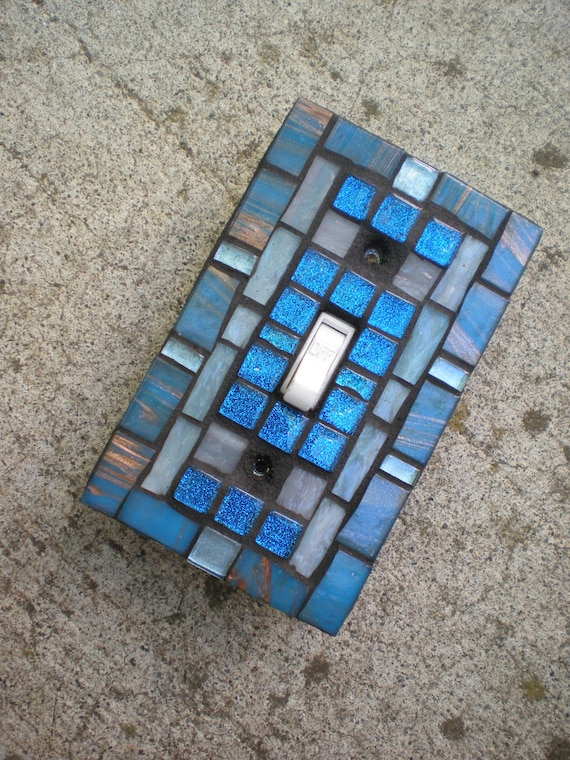 Mosaic Light Switch Cover -Shades of Blue Stained Glass Switchplate