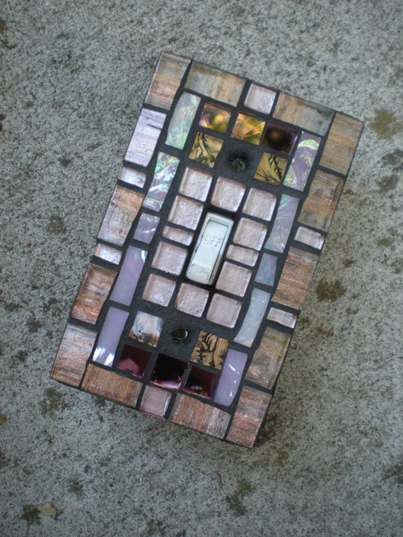Mosaic Light Switch Cover - Copper and Pink Stained Glass Switchplate