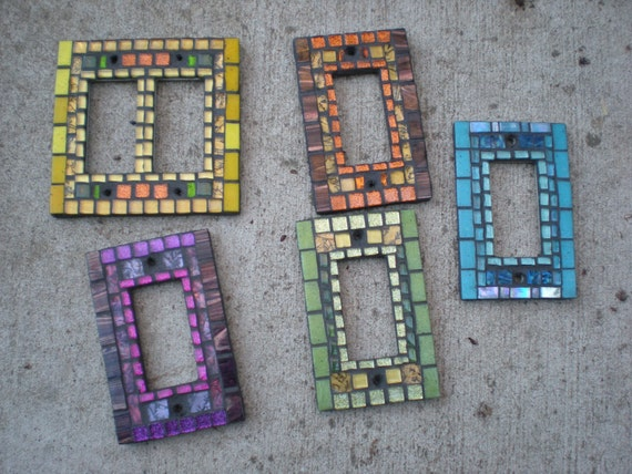 Custom Mosaic Switch Plate Decora - You pick the color - Double Rocker Light Switch Cover