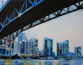 Under the Granville bridge, High Quality Art Print