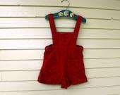 Vintage Crimson Velvet Overalls