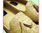 Vintage 80s Cream Loafers 9M Weave Look Cappagallo Shoes