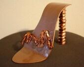 Kickin' Copper Funky Stiletto Metal Art Shoe Sculpture