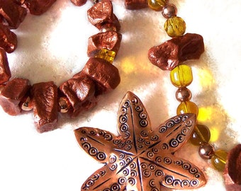 1/2 Price SALE  Potato bead necklace copper starfish