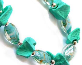 1/2 Price SALE  Potato Bead Necklace Turquoise Teal Aqua Organic Beaded Swirl