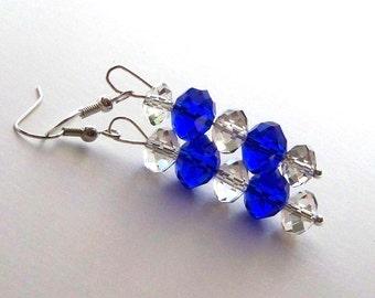 25% SALE Cobalt Blue Crystal Earrings, dark blue purple crystal