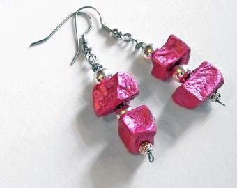 1/2 Price SALE  Potato Bead Earrings neon hot pink raspberry strawberry lightweight