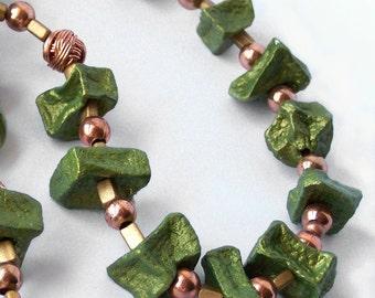 1/2 Price SALE  Potato Bead Necklace Copper and Natural Peridot Green