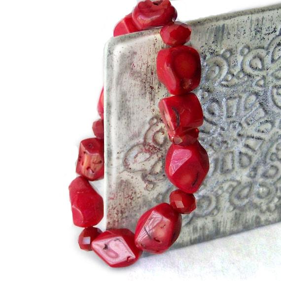 1/2 Price SALE  Red Bracelet Glass Stone Crystal