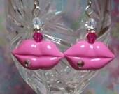 Pink Lip Earrings