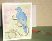 Bluebird Watercolor card  free shipping etsy