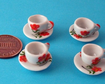 4 Sets of Miniature Flower Pattern Teacups and Saucers for DIY
