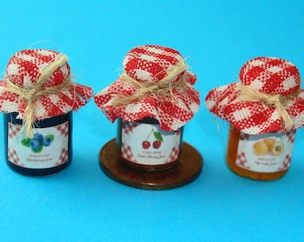 3 Bottles of dollhouse Home- Made Jams, Apricot, Plum and Cherry Jams 12th Scale