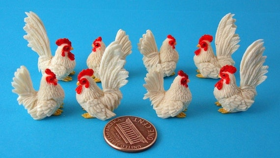 4 Sets of Miniature Polymer Roosters and Hens