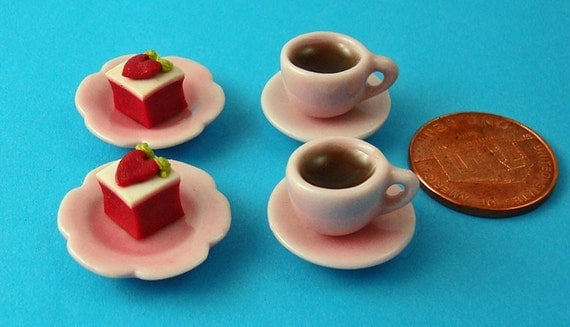 Dollhouse Tea for Two, 2 Set of Pink Teacups and Saucers with Tea, 2 Plates of Small Cakes12th Scale