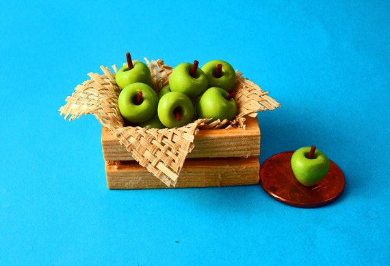 A Crate of Green Apples  for Dollhouse 1/12 Scale